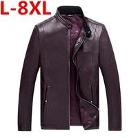 8XL plus la taille de Causalite PU En Cuir Vestes Hommes Manches Longues Hiver Epais Poche Droite Vente Zipper Marque Vetements