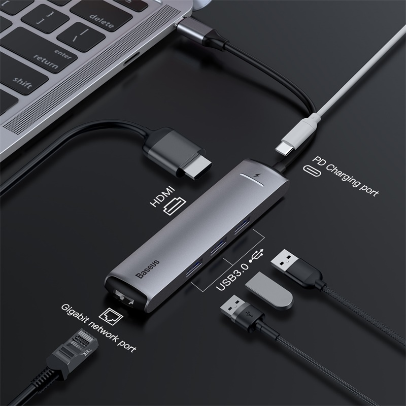 Baseus 6 puertos USB tipo C para USB 3,0 de USB C para MacBook Pro LED USB HUB RJ45 HDMI para samsung S8 S9 Huawei P20 amigo 20 tipo C HUB - 2