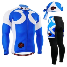 NEW Mens Cycling long Sleeves Mountain Bike Jersey Bike Bicycle Sets blue Cycling Clothes Clear Blue Pro Cycling Jerseys Set