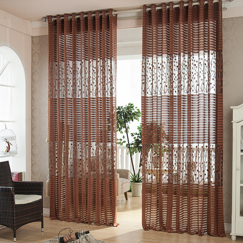 Top Finel hot modern shade net window sheer stripe curtains for living room bedroom kitchen blinds windows treatments fabric