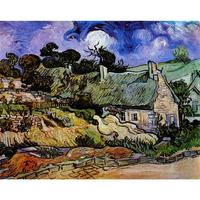 High Quality Vincent Van Gogh Modern Art Houses With Thatched Roofs Cordeville Oil Paintings Reproduction Hand