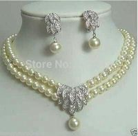 Wholesale Fancy Bridal Jewellery Silver 2row Pearl Necklace Earring set (A0423)