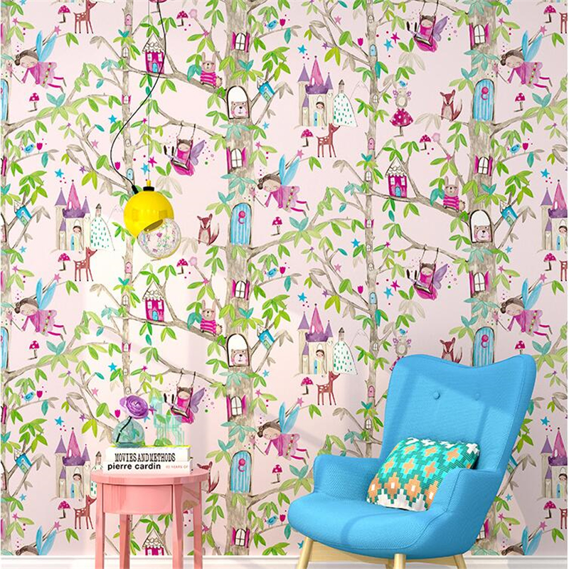 Beibehang green childrens room girl bedroom pink plain wallpaper beibehang green childrens room girl bedroom pink plain wallpaper cartoon flowers fete house cartoon royal floor wall in wallpapers from home improvement on mightylinksfo