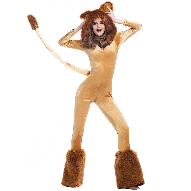 Umorden Deluxe Lion Costume Jumpsuit with Tail Ear Women Adult Halloween Animal Cosplay Costumes