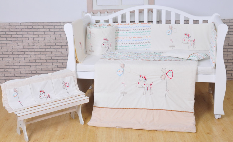 100% Cotton Baby bedding set White Crib bedding set White