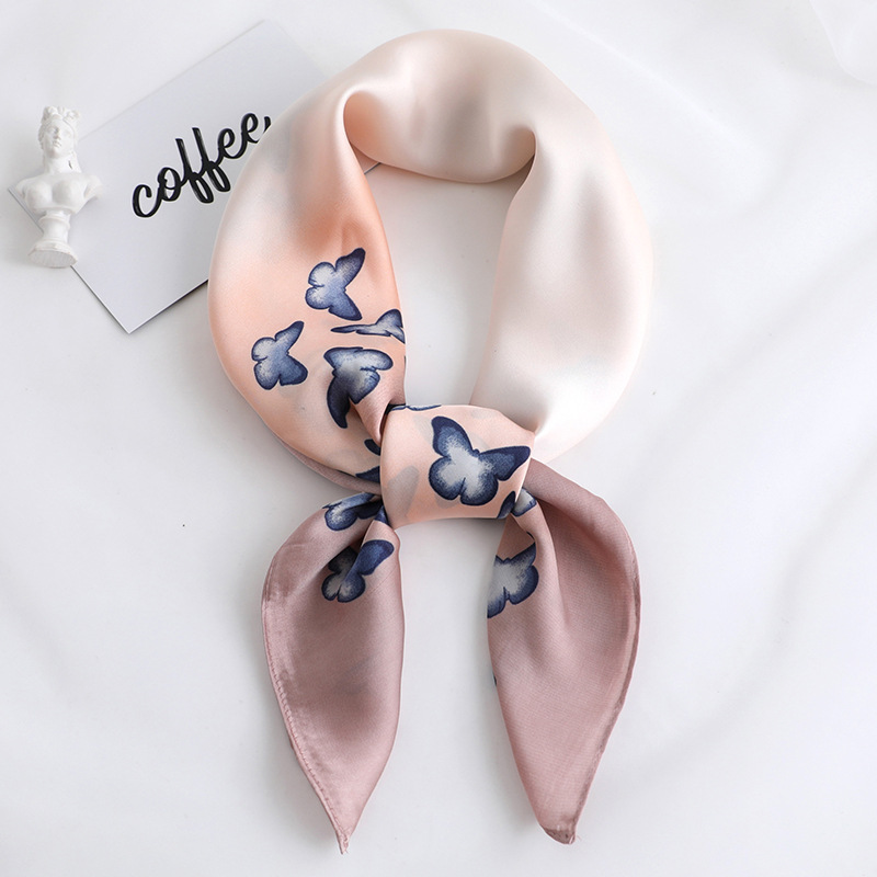 2019 New Spring Summer Women Silk Scarf Square Shawl And Wrap Lady Hair Neck Scarves Butterfly Print Soft Office Bandana Foulard