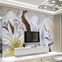 Lily butterfly love flower 3d background wall professional production mural, wallpaper wholesale, custom poster photo