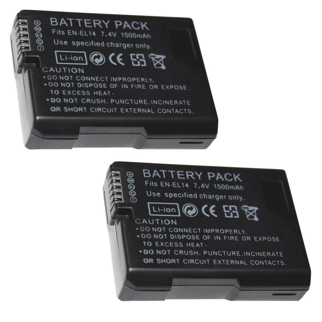 7,4 V 1500 mAh EN-EL14 baterías ENEL14 es EL14 Cámara Paquete de batería para Nikon D5200 D3100 D3200 D5100 P7000 P7100 MH-24