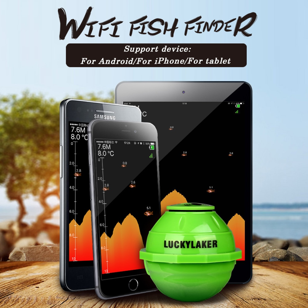 Lucky FF916 Wireless WIFI Fish Finder Sonar 50M/130ft Sea Fish Detect Finder For IOS Android Smart Fishfinder+Car Charger PescaLucky FF916 Wireless WIFI Fish Finder Sonar 50M/130ft Sea Fish Detect Finder For IOS Android Smart Fishfinder+Car Charger Pesca