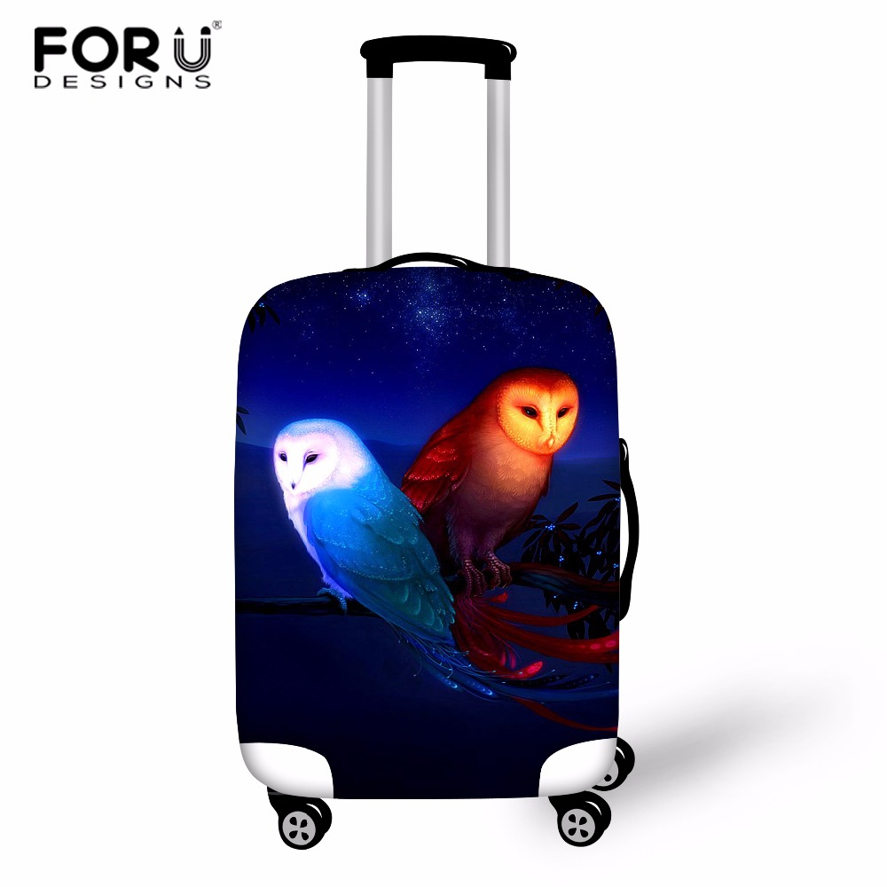 FORUDESIGNS Owl Designer Luggage Protector Cover Elastic Travel Accessories For 18-32 Inch Suitcase Case Luggage Protect Cover