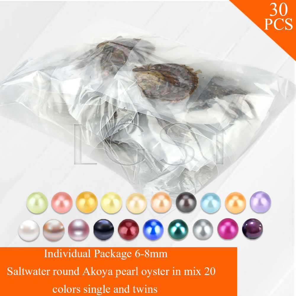 Free Shipping Via UPS 30pcs Mixed 20 Colors Single And Twins Pearls Oysters 6 8mm Saltwater
