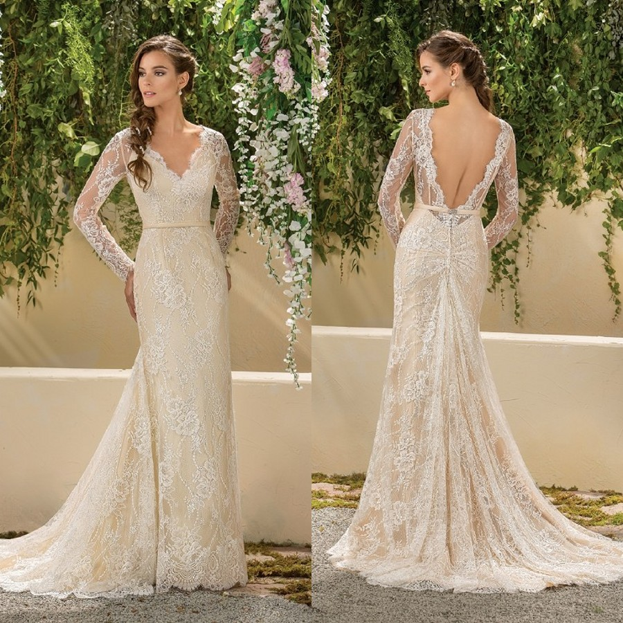 Champagne Lace Wedding Gown: 2017 Full Lace Wedding Dress Sheath Champagne V Neck With