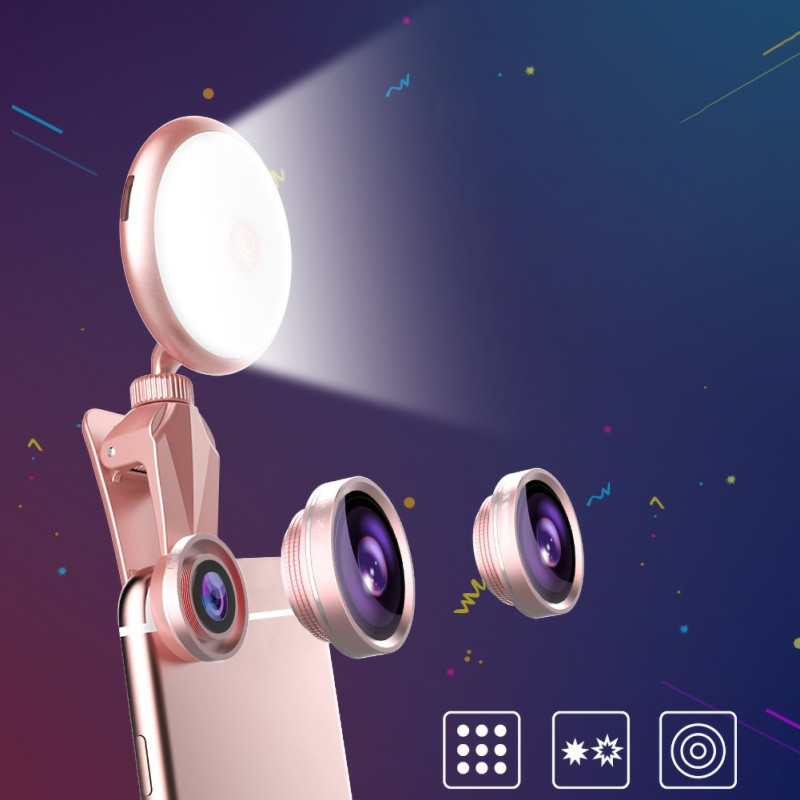 Dimmable 3 In 1 Mobile Phone Fill Light Wide Angle Macro Lens LED Light With Travel Case Photographic Lighting <font><b>Advertising</b></font> Light image