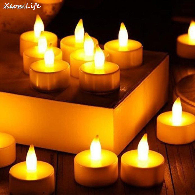ISHOWTIENDA 6pcs 3.8*2*4cm LED Tea Light Candles Realistic Battery-Powered Flameless Candles Christmas Halloween Lighting Decor