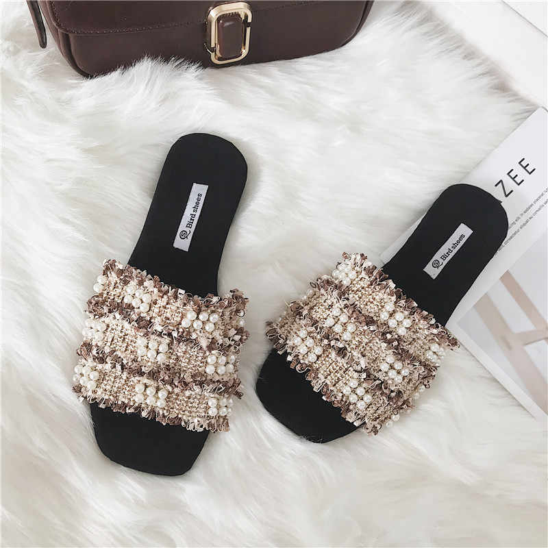 pearl beading tassel beach slides women mixed color narrow band roman slippers lady handmade knitted string bead flip flops