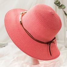 ecbef5b21b1 Woman Sun Hat 2018 Summer New Fashion Panama Sun Cap Beach Hat Bow Tie  Decor Stylish