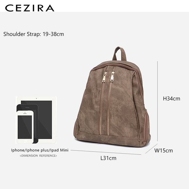 CEZIRA Fashion New Pu Vegan Leather Backpack Multi Zip Pockets Knapsack Women High Quality Bags Daily Holiday Shoulders Bags 5