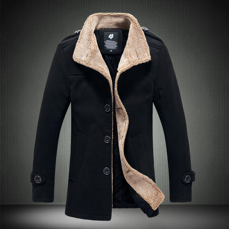 2017 Autumn Winter Fashion New Men s Casual Plus Wool Thick Wool Coat Men s Single