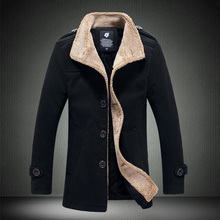 2017 Autumn Winter Fashion New Men's Casual Plus Wool Thick Wool Coat / Men's Single Breasted Warm Long Wool Parkas Down Jacket