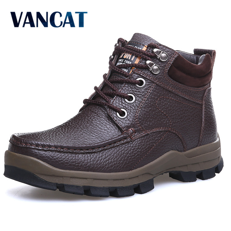 VANCAT Winter Brand Big Size Men Shoes Martin Boots Genuine Leather Warm Snow Boots Casual Men Motorcycle Boots Botas Hombre martin winter boots for men and men s winter snow boots warm cashmere waist leather shoes in winter thickening