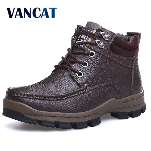 9b0769ae293 VANCAT Winter Brand Big Size Men Shoes Men s Boots Genuine Leather Warm  Snow Boots Casual Men Motorcycle Boots Botas Hombre