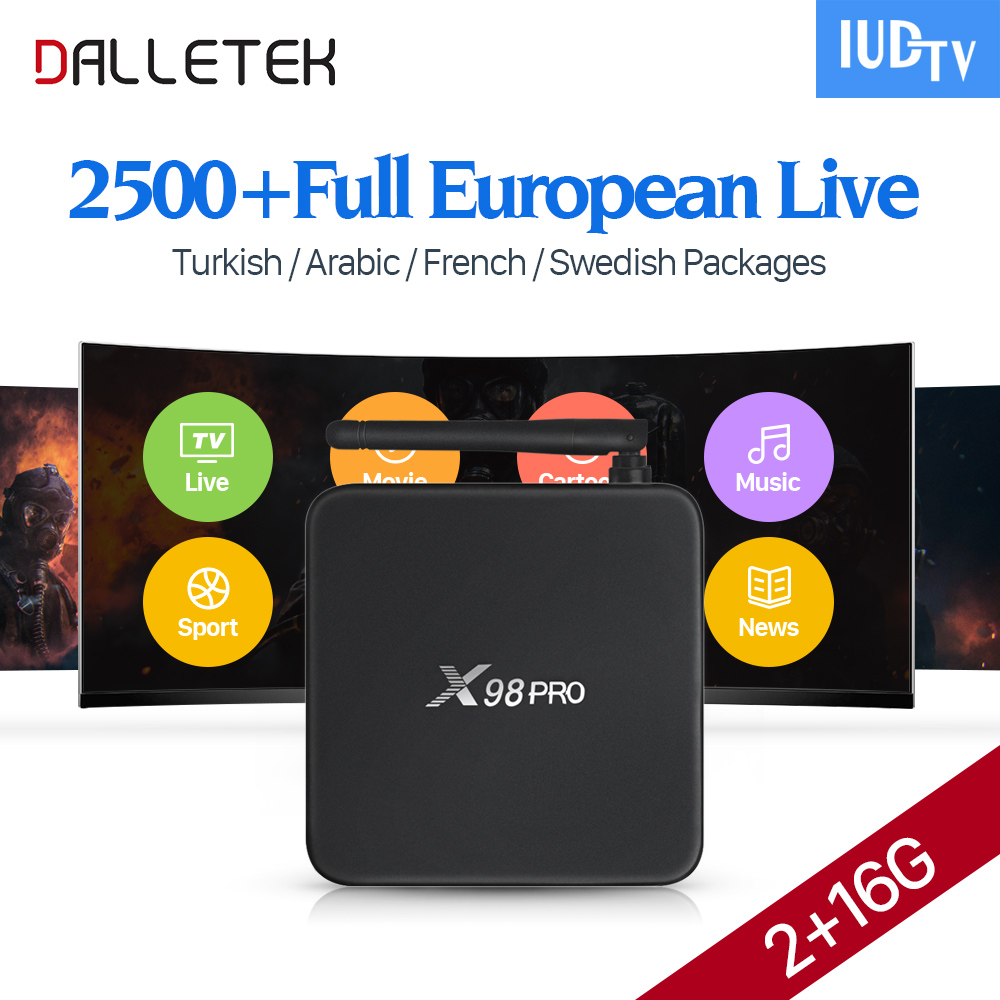 Dalletektv 4K Movie TV Box X98 Android 6.0 Smart Box Amlogic S912 2G 16G IPTV Channels Europe French Sweden Arabic IPTV Top Box iconbit movie smart tv медиаплеер
