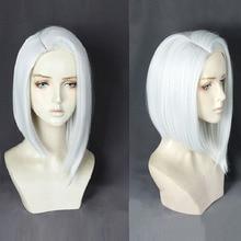 Overwatch Ashe Peluca de Cosplay de cabello sintético resistente al calor, recta corta de 35cm, juego de OW, pelucas de disfraz blancas y plateadas + gorro de peluca