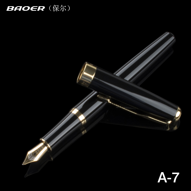 388 Brushed Gold Lacquer Medium Fountain Pen with Gold Plated Trim Baoer No