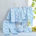 (5 pçs/set) Conjunto de Roupas de Bebê Recém-nascido 0-3 M Baratos Do Bebê Menino/Menina Roupas 100% Algodão alta qualidade Dos Desenhos Animados Roupa Interior