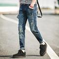 Streetwear Mens Ripped Biker Jeans homme Men's fashion Motorcycle Slim Fit Black White Blue Moto Denim Pants Joggers Skinny Men