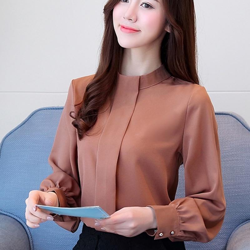 06c9758202 Novas Mulheres Outono Blusa Manga Longa Chiffon Blusa Mujer Senhoras Da Moda  Camisas Casual Feminino Blusa Tops Plus Size Camisa Da Senhora