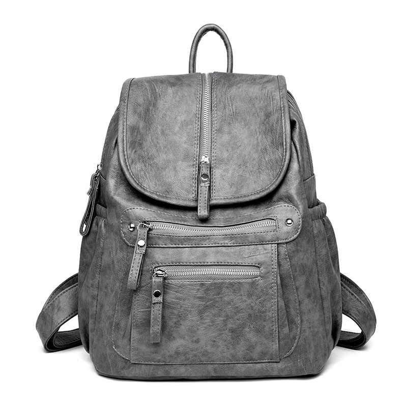 Винтажный рюкзак женский бренд PU кожаный женский рюкзак большая, вместительная, черная школьная сумка для девочек сумки на плечо для женщин 2019