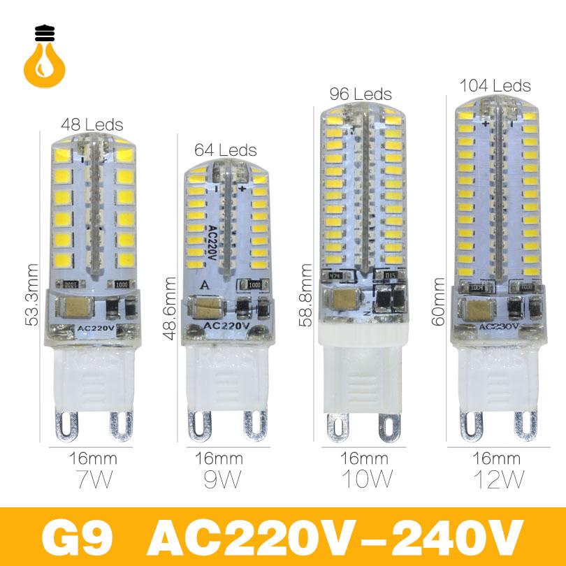 G9 Led 7  9  10  12 W AC220V 240 V G9 Lampara Led Bombilla  2835 SMD 3014 LED G9 Luz Reemplazar 30/40 W Lampara Halogena De Luz
