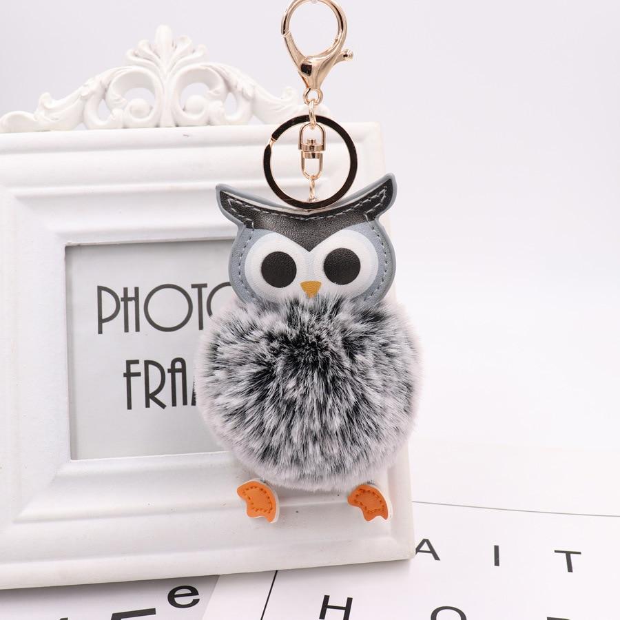 Cute Pompom Owl Keychain pom pom Key Chain Rabbit Fur Ball pompon Porte Clef Fluffy Leather Key Ring accessories Jewelry
