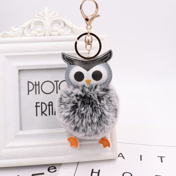 Cute Pompom Owl Keychain pom pom Key Chain Rabbit Fur Ball pompon Porte Clef Fluffy Leather Key Ring accessories Jewelry
