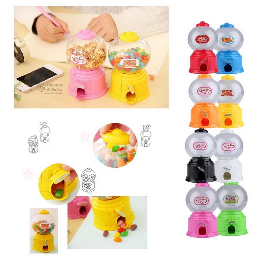 Cute Mini Bubble Gum Ball Candy Dispenser Machine Coin Box