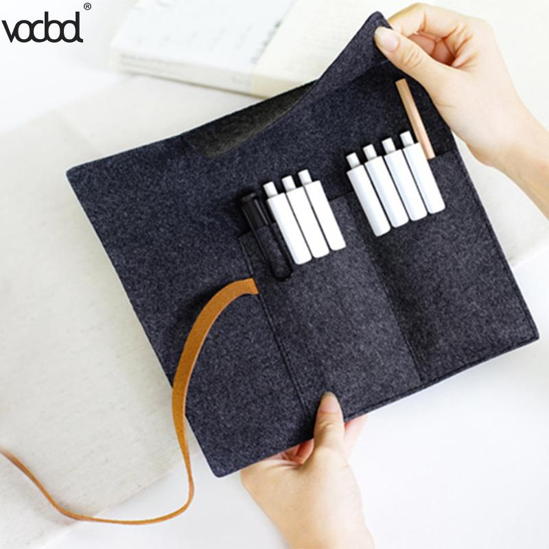 VODOOL Large Capacity Handmade Felt Pencil Case Bags Roll Pouch Makeup Cosmetic Brush Pen Storage Box Bag School Spplies retro stripe pencil pen case cosmetic pouch pocket brush holder makeup bags life style pencil bag pen box