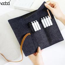 VODOOL Large Capacity Handmade Felt Pencil Case Bags Roll Pouch Makeup Cosmetic Brush Pen Storage Box Bag School Spplies