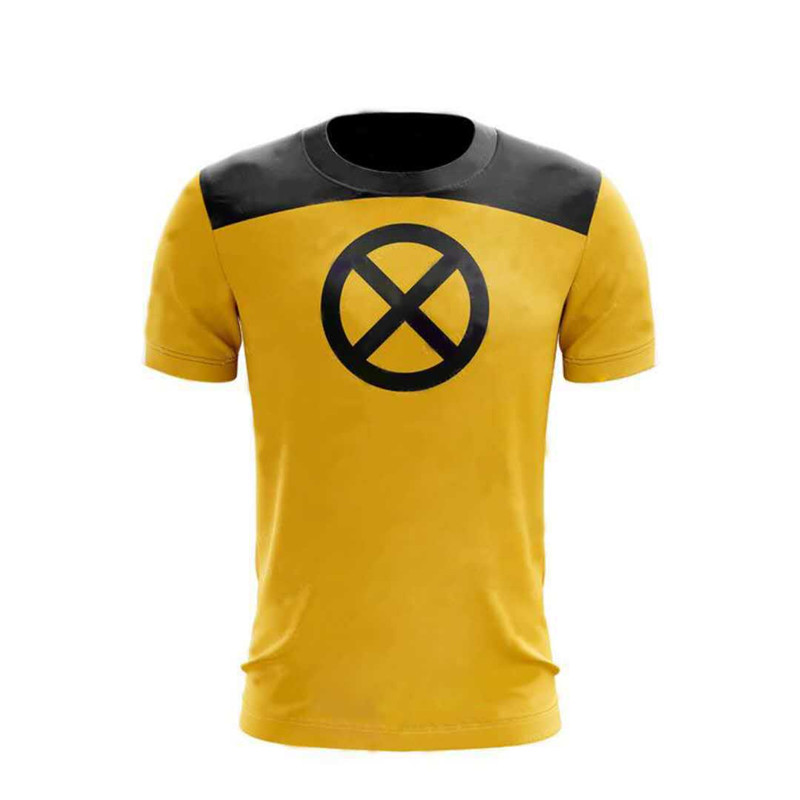 Deadpool 2 Printed Trainee Cosplay T shirt Superhero Yellow Slim Polyester Mens Short Sleeve O-Neck Tee Shirts Halloween Costume
