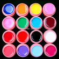Hot DIY NEW 16 Pcs Mix Pure Solid Color UV Gel Builder Set for Nail Art False French Tips white POT