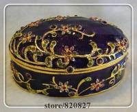 Classic Jewelry Box Crystals Keepsake Box Oval Shaped Trinket Jewelry Box Multi Color Jeweled Wedding Ring Holding Gift Box