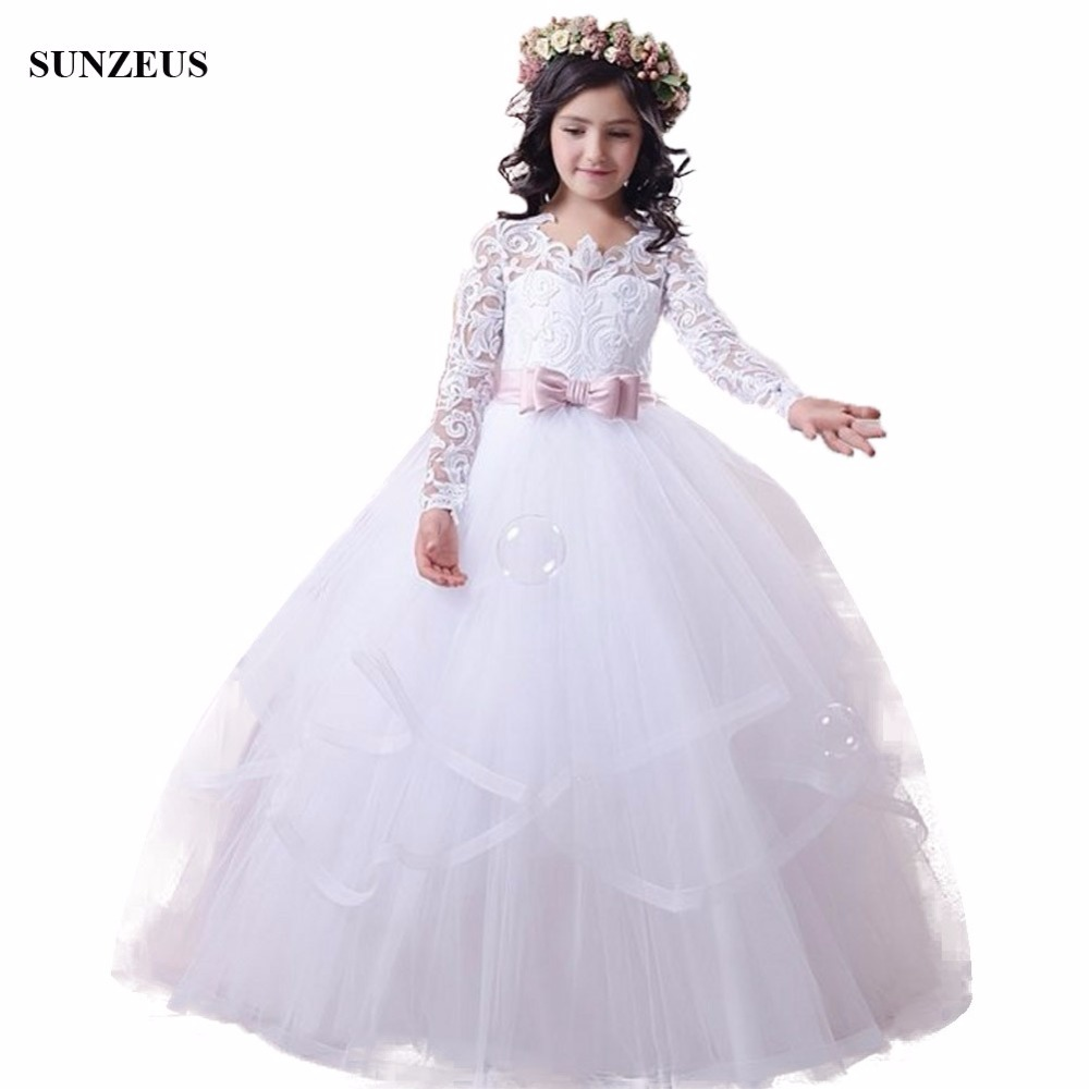 Long Sleeve White   Flower     Girl     Dress   Appliques Lace Bodice Ball Gown Tulle Children Wedding Party Gowns With Bow Sash FLG087
