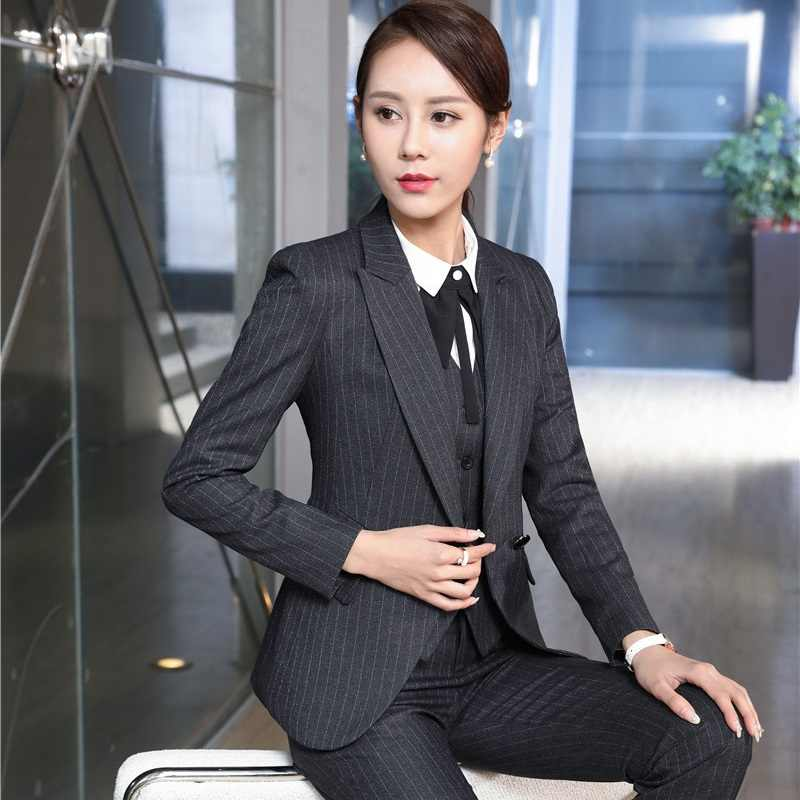 Fashion Striped Autumn Winter Formal Professional Pantsuits OL Styles  Ladies Office Uniforms Business Women Pants Suits fe88d77c934e