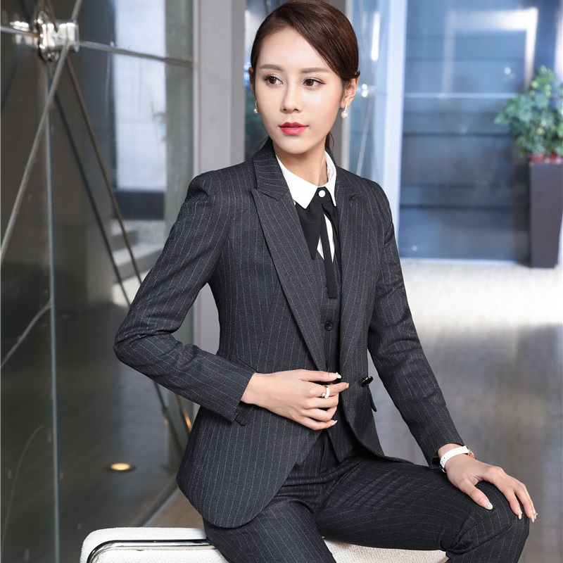 Fashion Striped Autumn Winter Formal Professional Pantsuits OL Styles Ladies Office Uniforms Business Women Pants Suits Outfits