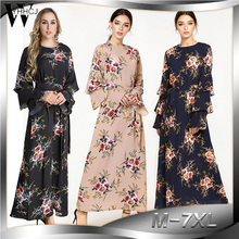 WYHHCJ 2018 Spring/Summer Woman Maxi Dress Long Sleeves Plus Size M-7XL Elegant Floral Dresses Formal Evening Party