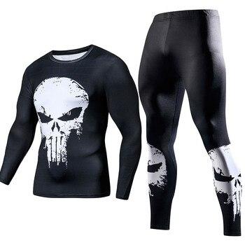 Vêtements d'entraînement pour hommes Compression GYM vêtements d'entraînement Superman jogging Sportswear Fitness ajustement sec survêtement collants 2 pièces/ensembles