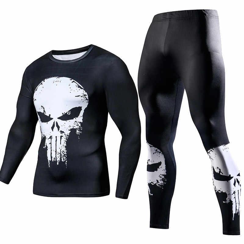 Для мужчин сжатия тренажерный зал одежда костюмы тренировки Супермен Спортивная одежда для бега Фитнес Dry Fit спортивный костюм колготки 2 шт./компл.