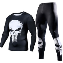 Skull Printed Compression Gym Set
