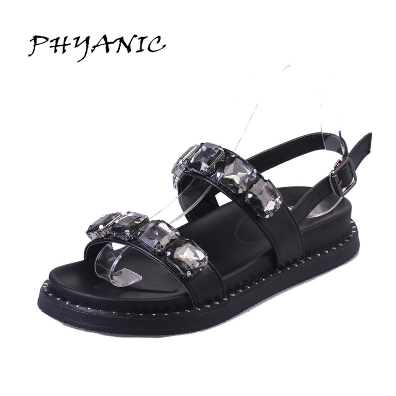 PHYANIC Crystal Shoes Woman 2017 Bling Gladiator Sandals Casual Creepers Slip On Flats Beach Platform Women Shoes PHY4041 lanshulan wedges gladiator sandals 2017 summer peep toe platform slippers casual glitters shoes woman slip on flats creepers