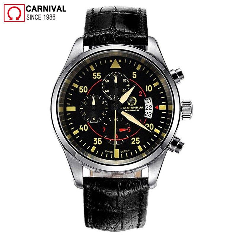Carnaval pilote hommes montres Top marque de luxe Sport chronographe Quartz montre hommes montre-bracelet homme horloge homme Xfcs relogio masculino